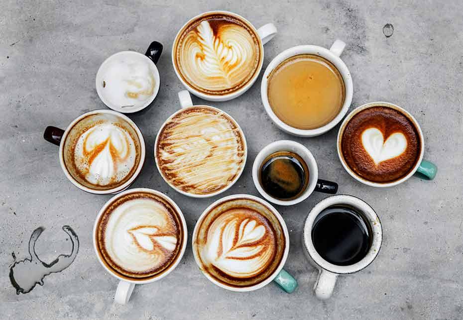 rozne rodzaje pysznej kawy z wody osmotycznej